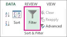 Filter option to sort dataset